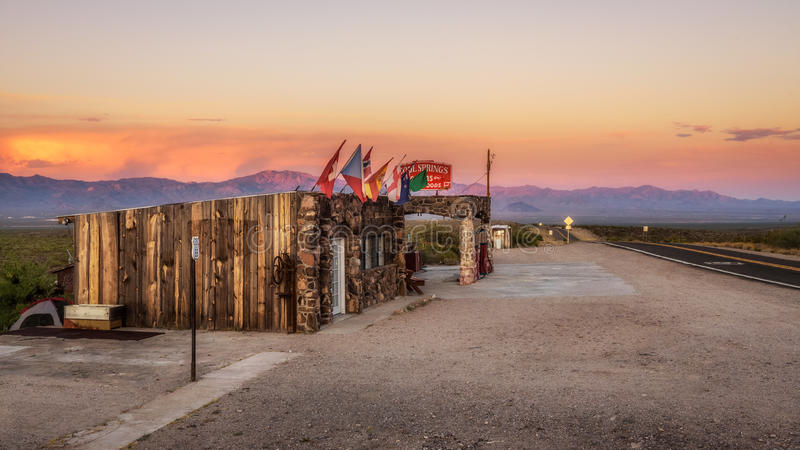 Rebuilt Cool Springs station in the Mojave desert on historic route 66 at sunset. COOL SPRINGS, ARIZONA, USA - MAY 19, 2016: Rebuilt Cool Springs station in the royalty free stock photos