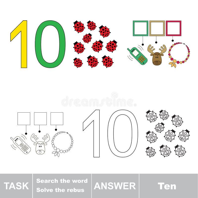 Rebus for letter ten stock illustration