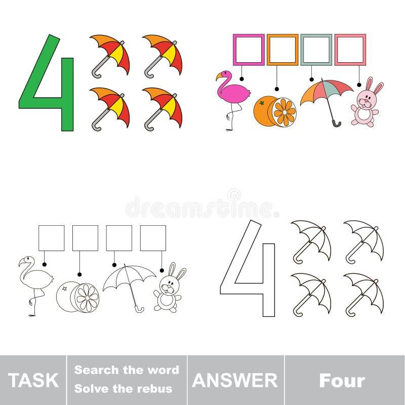 Rebus for letter 4 royalty free illustration