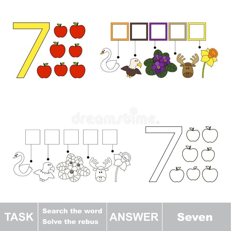Rebus for letter 7 stock illustration