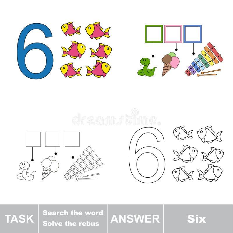 Rebus for letter 6 stock illustration