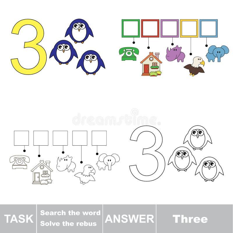 Rebus for letter 3 stock illustration