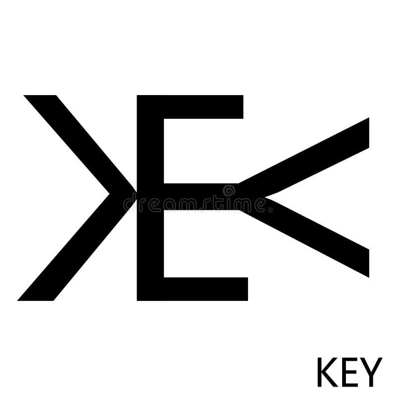 Rebus word key, inverted letters, key logo sign vector illustration