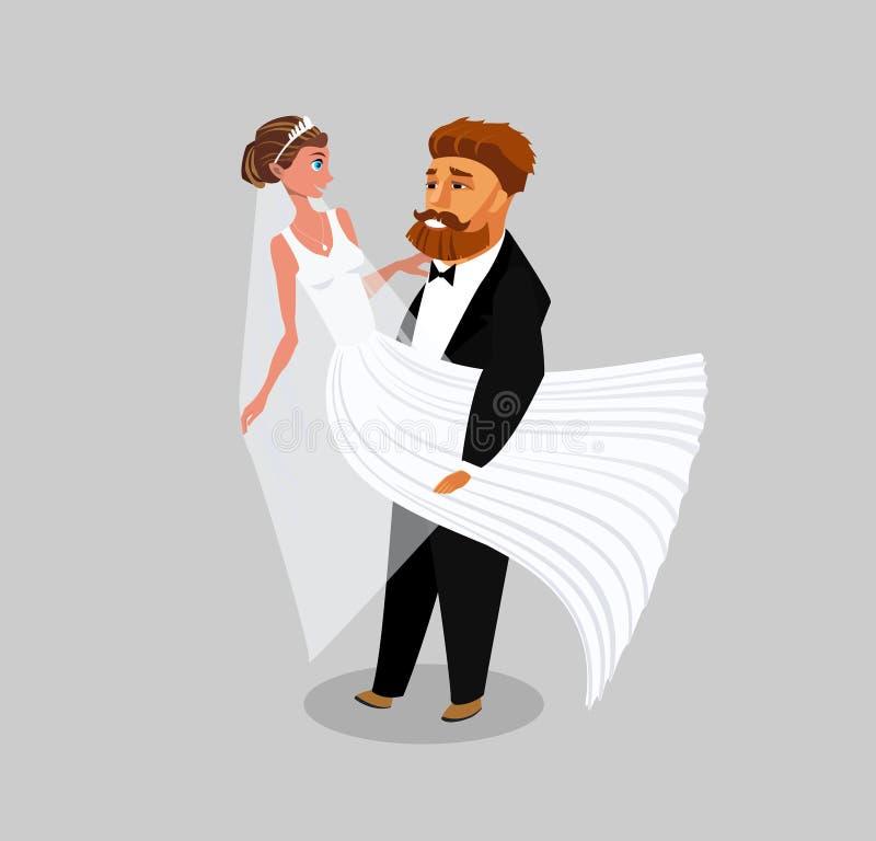 Recém-casados, apenas ilustração casada do vetor da cor ilustração royalty free