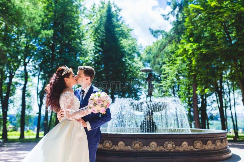 Recém-casados bonitos dos pares perto da fonte imagem de stock