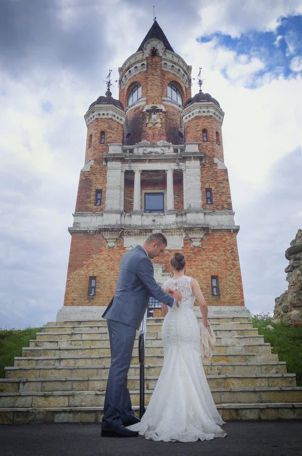 Recém-casados e torre Gardos fotos de stock