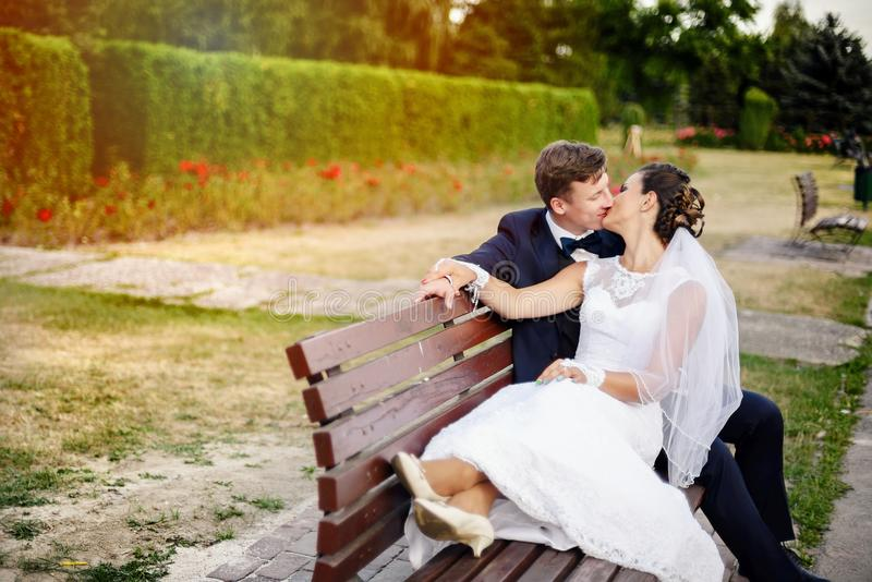 Recém-casados que beijam no banco no parque fotografia de stock
