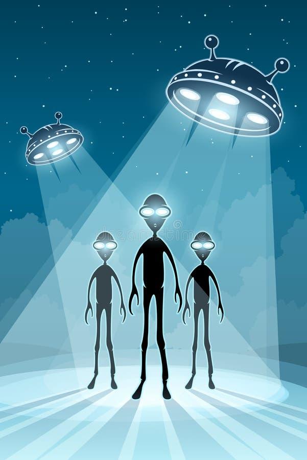 Recém-chegados do UFO e pires de voo estrangeiros ilustração do vetor