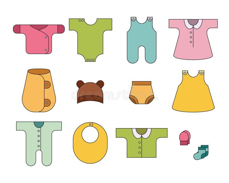 Recém-nascido Ícones do bebê ajustados Vestuário para bebês colorido ilustração do vetor