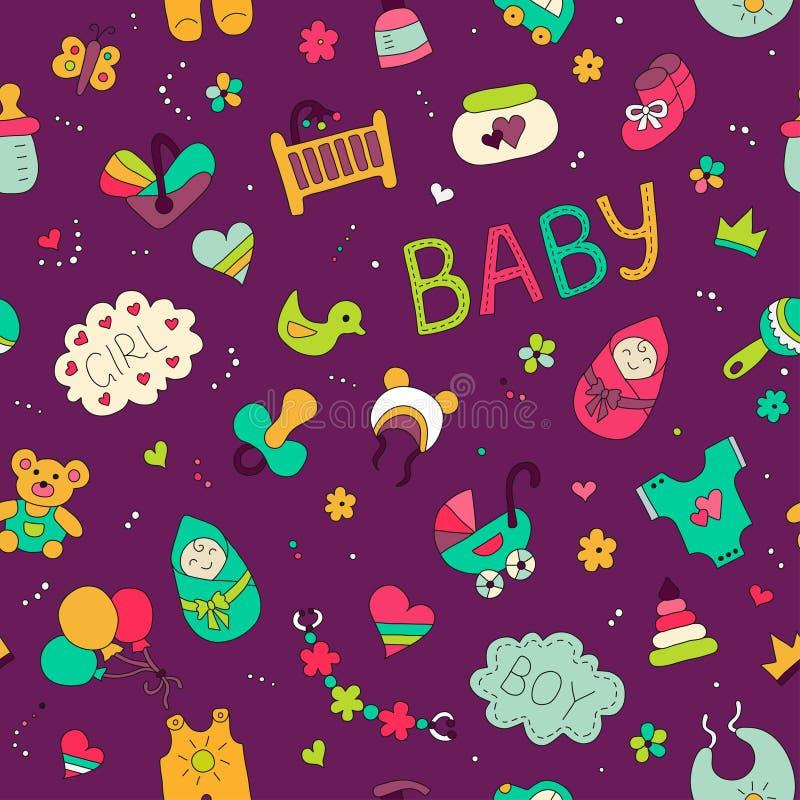 Recém-nascido Teste padrão sem emenda do vetor colorido no estilo da garatuja e dos desenhos animados no tema do bebê ilustração do vetor