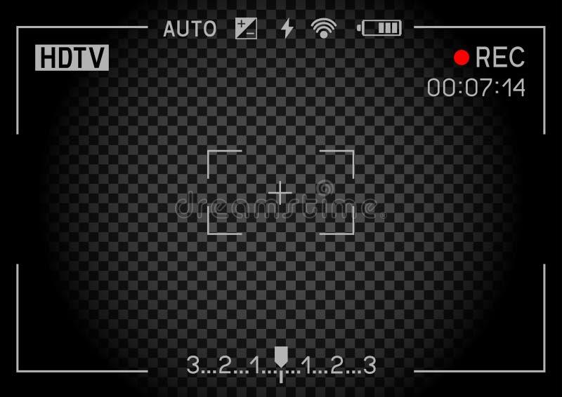 Rec camera viewfinder dark. Camera viewfinder rec on transparent black background. Record video snapshot photography royalty free illustration