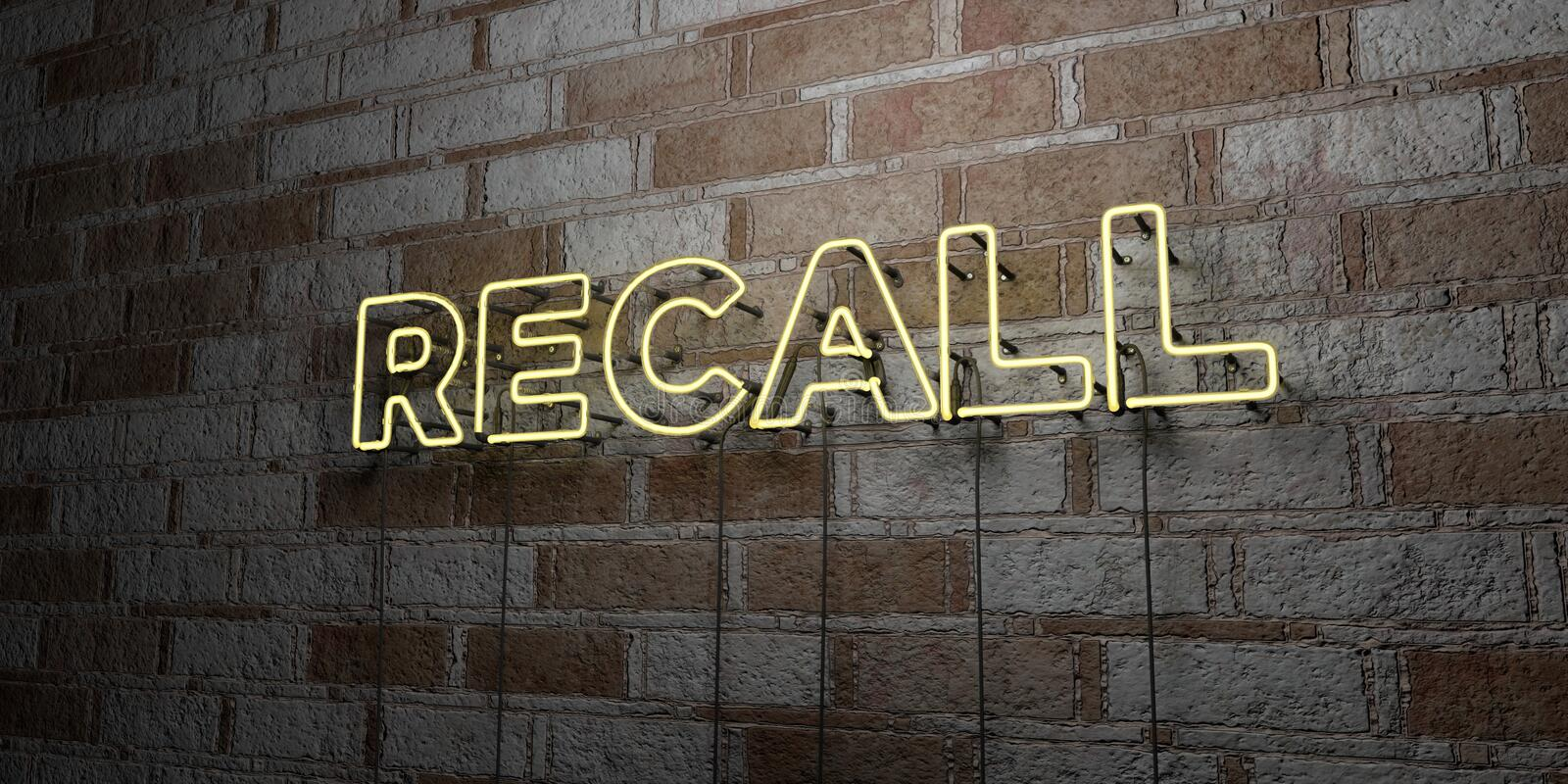 RECALL - Glowing Neon Sign on stonework wall - 3D rendered royalty free stock illustration. Can be used for online banner ads and direct mailers royalty free illustration