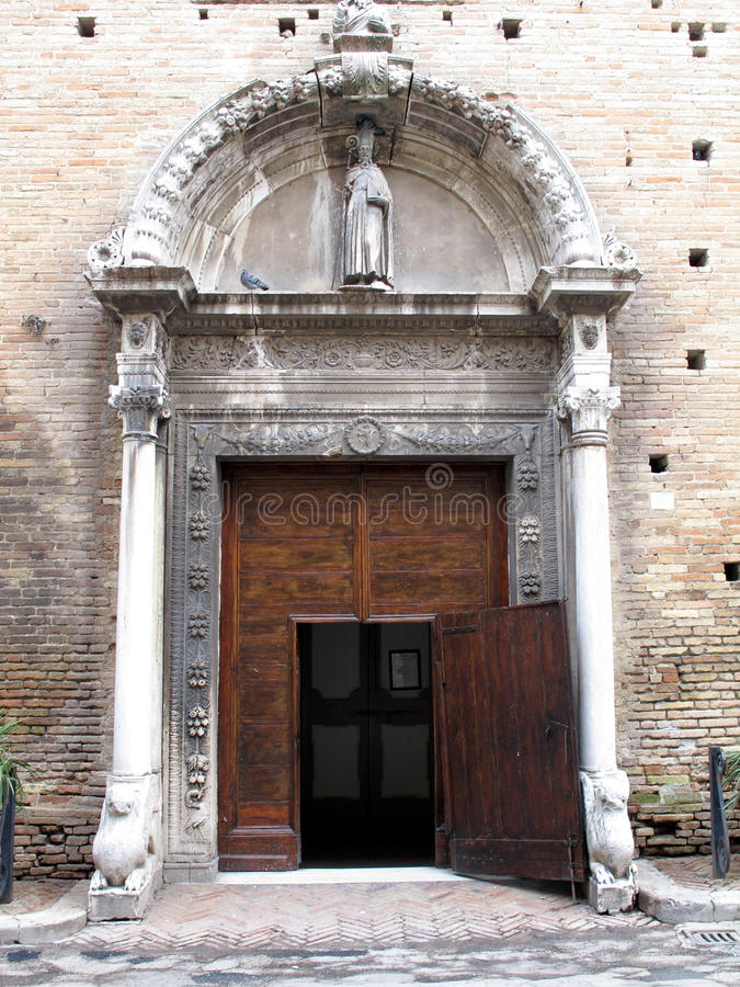 Recanati, Italy. St. Agostino church in Recanati the birthplace of the famous poet Giacomo Leopardi and the tenor Beniamino Gigli. Marche region, Italy royalty free stock image