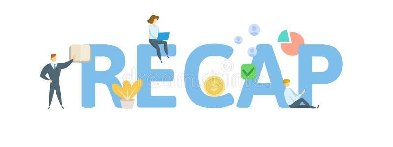 recapitulación Concepto con la gente, las letras y los iconos Ejemplo plano del vector Aislado en el fondo blanco ilustración del vector
