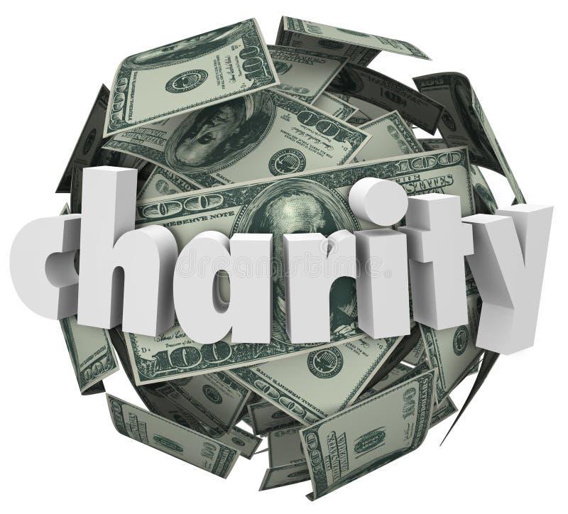 Recaudador de fondos de la bola del dinero de la caridad cientos esferas del dólar ilustración del vector