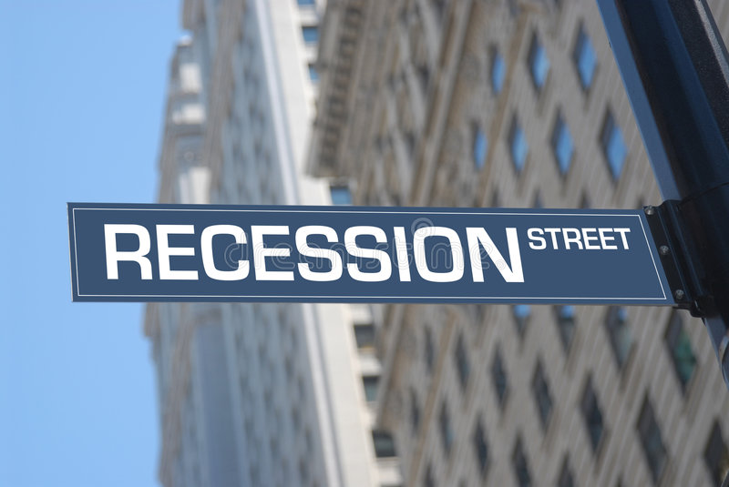 Reccession street stock image