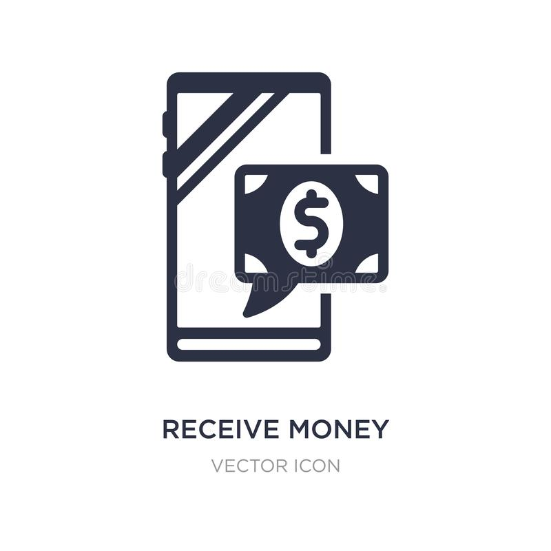 receba o ícone da mensagem do dinheiro no fundo branco Ilustração simples do elemento do conceito da tecnologia ilustração royalty free