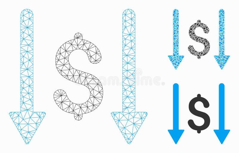 Receba o vetor Mesh Network Model do dinheiro e o ícone do mosaico do triângulo ilustração do vetor