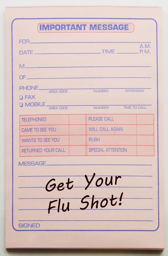Receba a sua vacina contra a gripe a mensagem importante imagens de stock royalty free