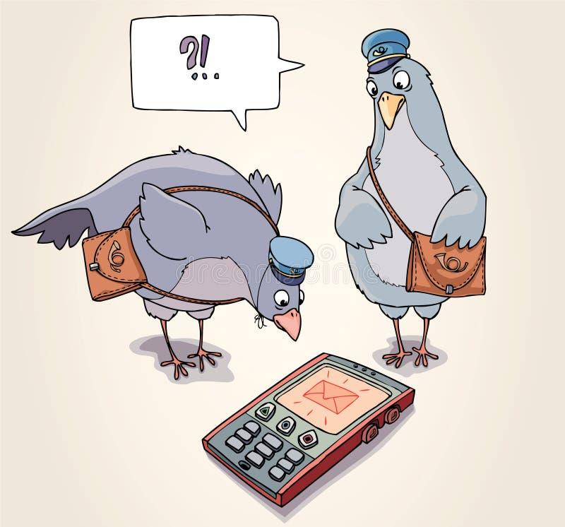 Recebendo o SMS ilustração stock