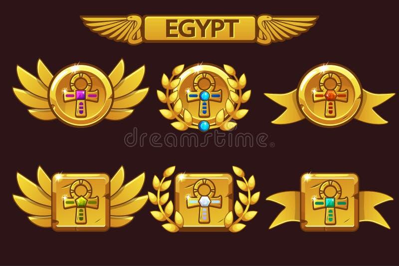 Recebendo a realização do jogo dos desenhos animados Concessões egípcias com símbolo transversal dourado de Ankh Para o jogo, int ilustração do vetor