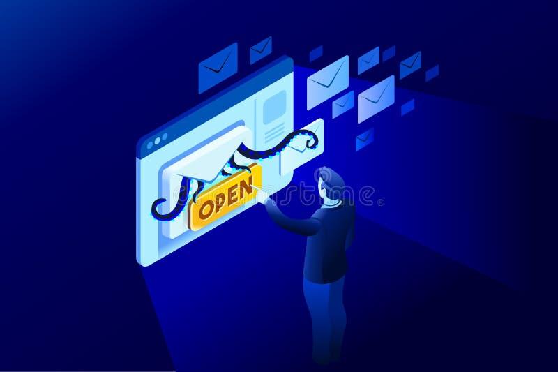 Recebendo um contato do email do Spam ilustração royalty free