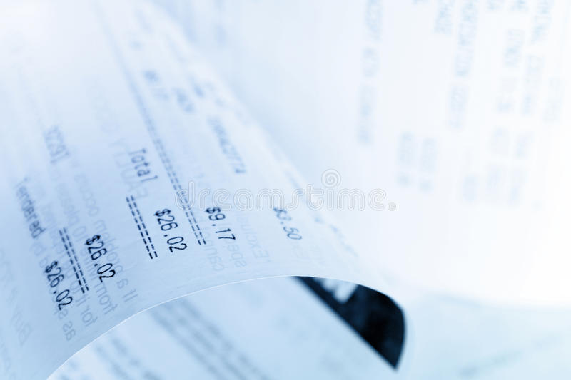 Receipt. Closeup of numbers on receipt stock image