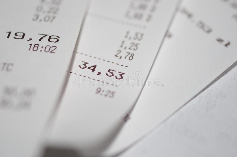 Receipt. Closeup of grocery shopping receipt stock images