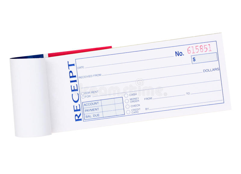 Receipt Pad. Receipt Recived Money Pad Isolated on White stock photography