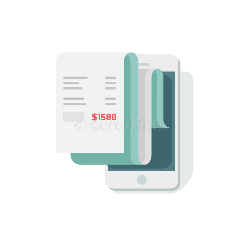 Receipt in smartphone vector illustration, flat style mobile phone with invoice bill paper royalty free illustration
