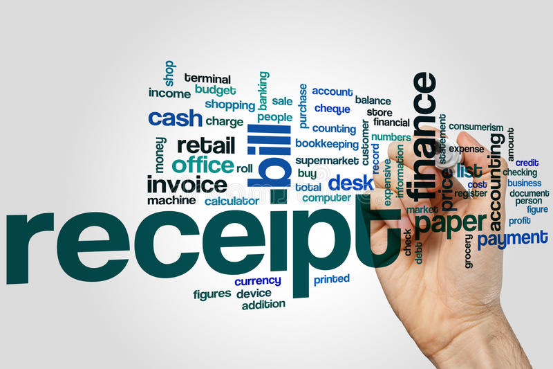Receipt word cloud. Concept on grey background royalty free stock image