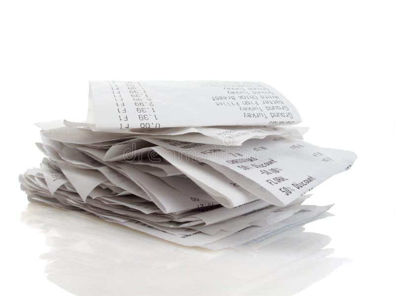 Receipts stock image