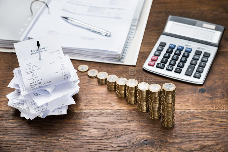 Receipts With Calculator And Money royalty free stock photos