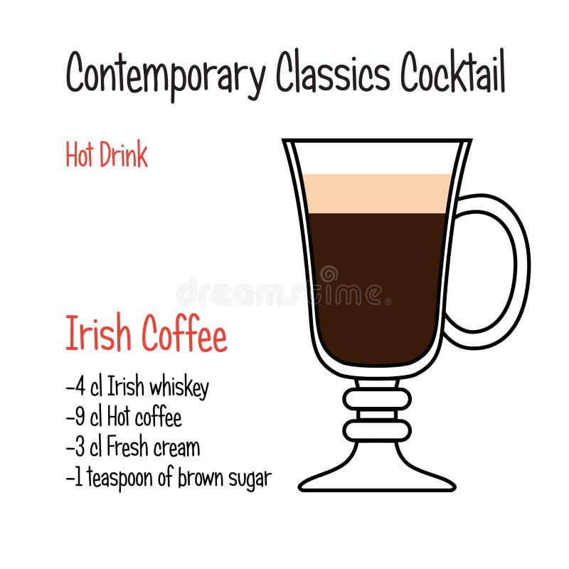 Receita clássica contemporânea do cocktail do vetor do café irlandês ilustração royalty free