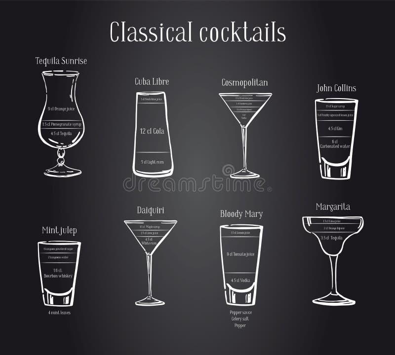 Receita clássica dos cocktail Planeje da preparação com ingredientes Ilustração tirada mão do esboço do esboço do vetor ilustração royalty free