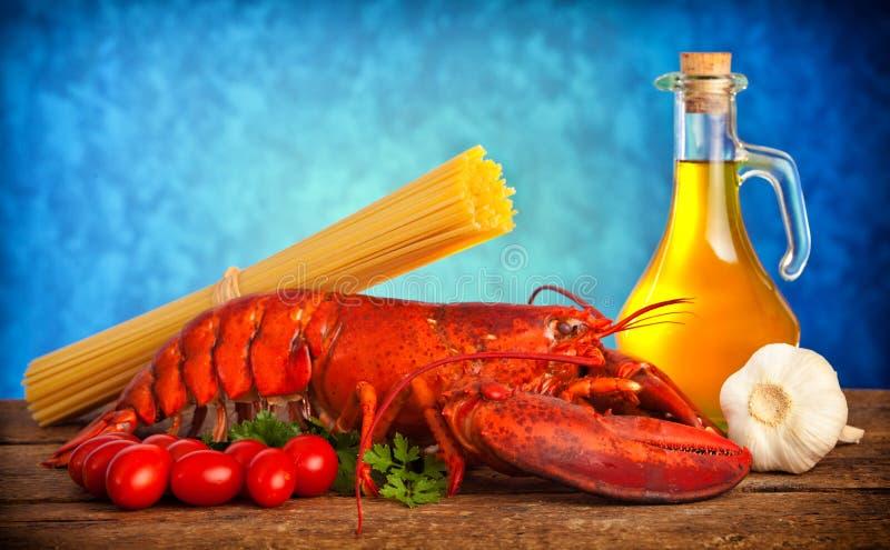 Receita da lagosta com linguine fotos de stock
