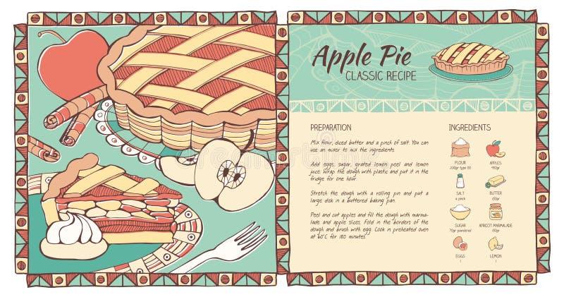 Receita da torta de Apple ilustração stock