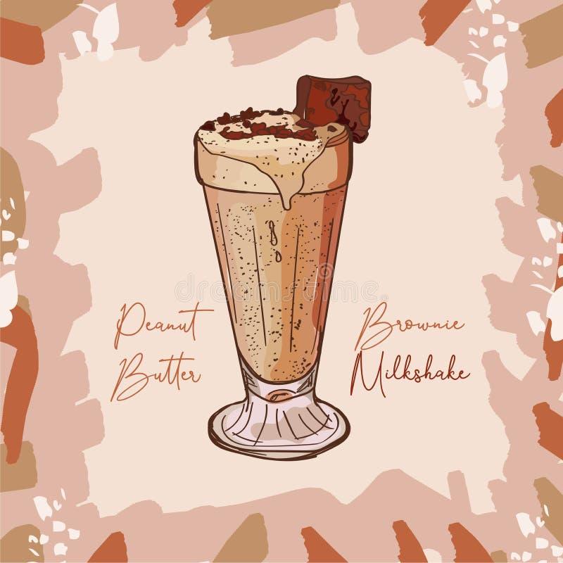 Receita de Brownie Milkshake da manteiga de amendoim Elemento do menu para o café ou restaurante com bebida fresca do leite Cockt ilustração royalty free