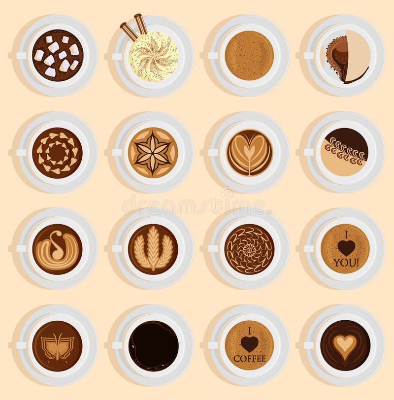 Receita diferente do café da bebida realística da opinião superior de Coffe como o cappuccino, chocolate, latte no quadro-negro d ilustração stock