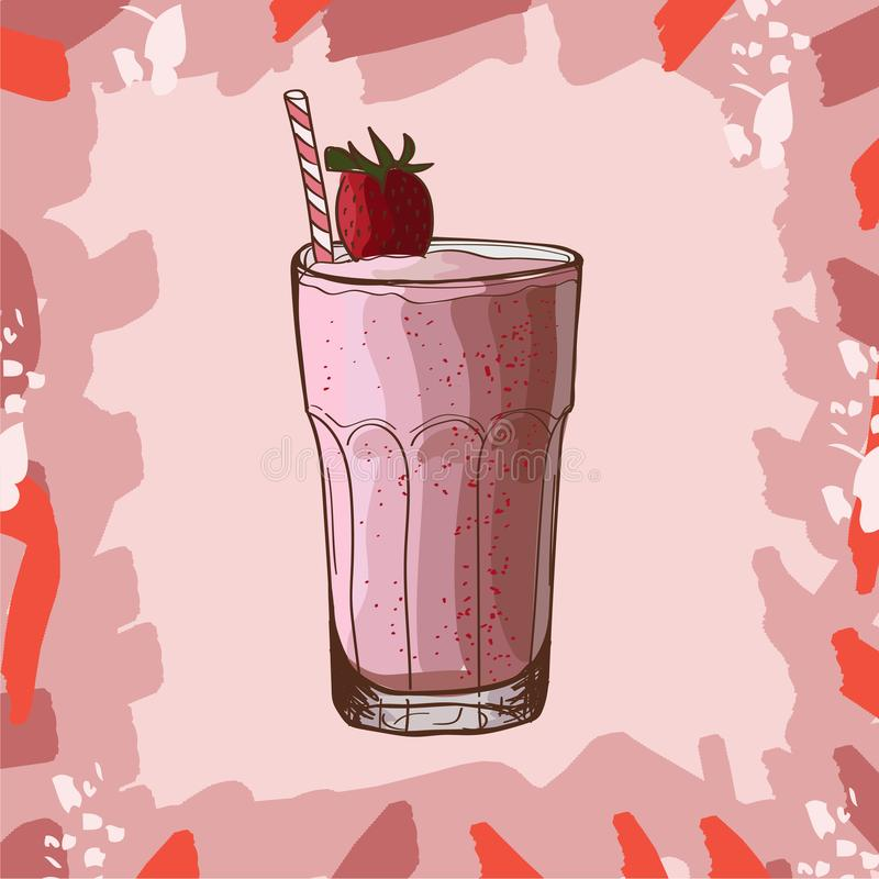 Receita do batido da banana da morango Elemento do menu para o caf? ou restaurante com bebida fresca energ?tica Suco fresco para  ilustração do vetor