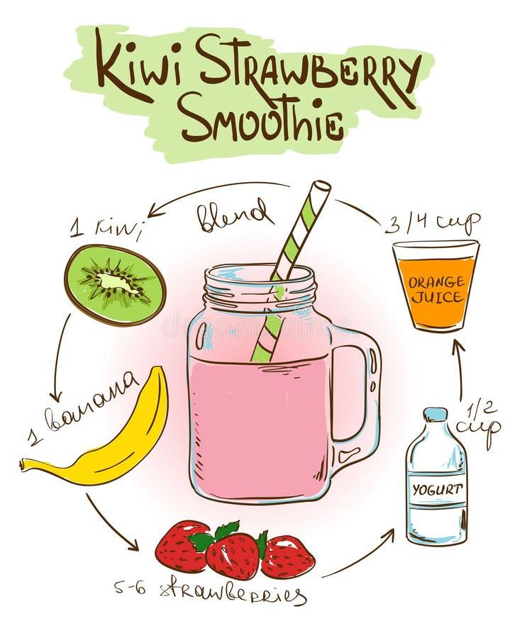 Receita do batido de Kiwi Strawberry do esboço ilustração royalty free