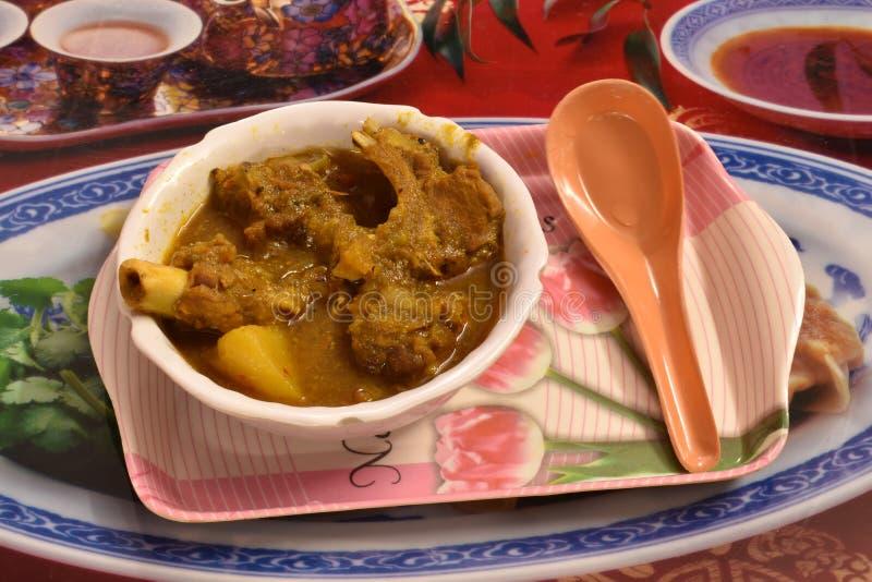 A receita do caril da carne de carneiro é típica de Bengal e de Bihar Feito com carne e especiarias de cabra como o masala do gar imagens de stock