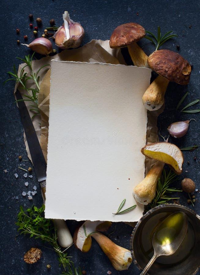 Receita do cogumelo; outono que cozinha o fundo; porcini orgânico MU imagem de stock royalty free