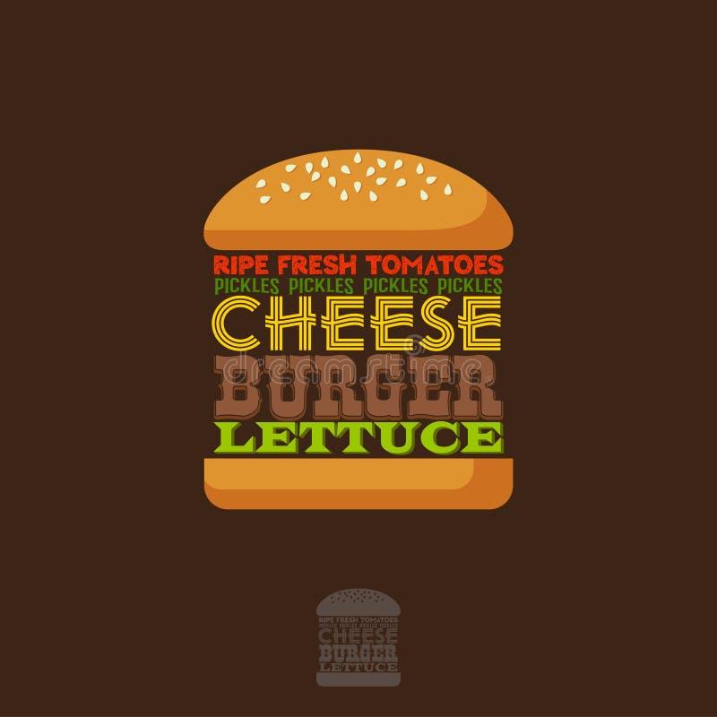 Receita do hamburguer infographic lettering Uma ilustração clássica do cheeseburger ilustração stock