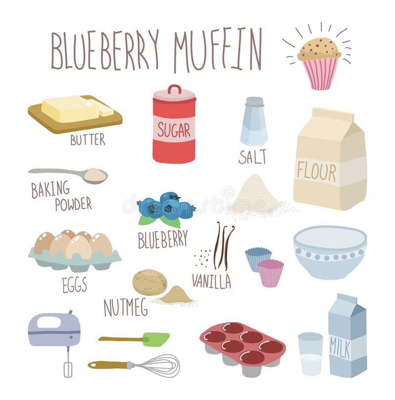 Receita do muffin de blueberry ilustração royalty free