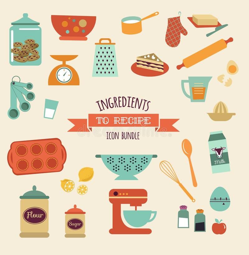 A receita e o vetor da cozinha projetam, grupo do ícone ilustração royalty free