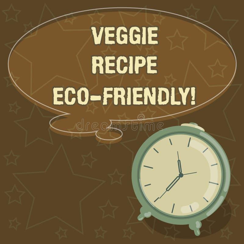 Receita Eco do vegetariano da escrita do texto da escrita amigável O significado do conceito que vive a dieta verde do vegetarian imagens de stock