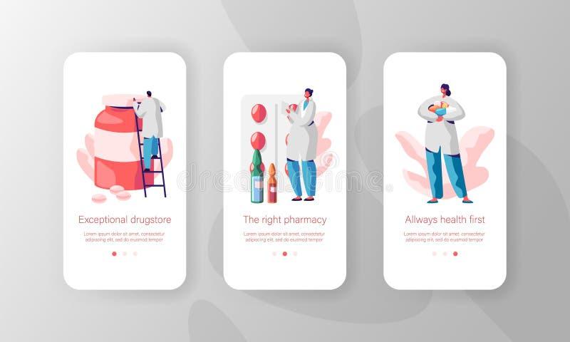 Receita farmacêutica excepcional para da página móvel do App do medicamento o grupo a bordo da tela Drograria, farmácia primeiram ilustração royalty free