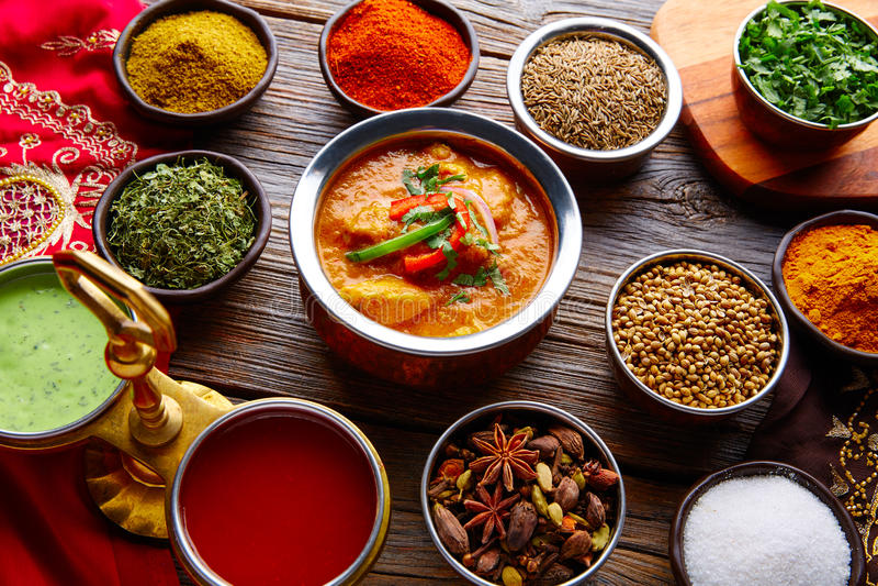 Receita indiana e especiarias do alimento de Jalfrazy da galinha fotografia de stock royalty free