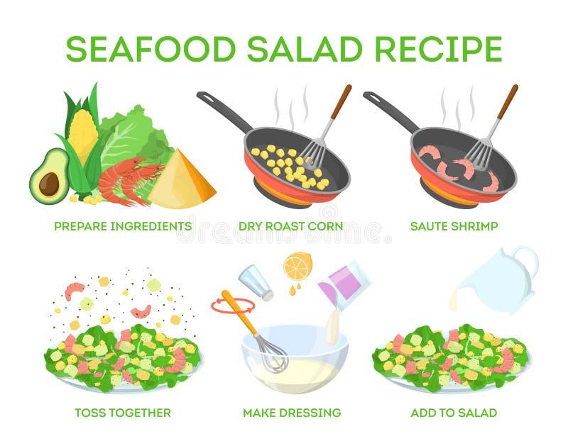 Receita saboroso da salada do marisco Cozimento em casa ilustração stock